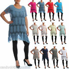 Ladies Lagenlook Net Crochet Top Dress Tunic Summer Loose XXL Plus Size 10 24