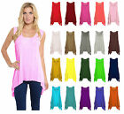 Ladies Jersey Long Sleeveless Hanky Hem Flared Tunic Flared Swing Vest Top 8-26