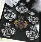 4pcs 7x8cm wide gold/silver beads dress clothes brooch appliques patches 3571