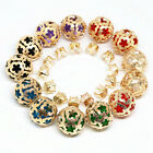 Candy color crystal double side stud earring women matte gold plate jewels B1663