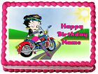 BETTY BOOP MOTORCYCLE Biker Image Edible Cake topper sheet $13.5 USD