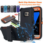 Heavy Duty Hybrid Full Cover w Belt Holster Clip Case For Samsung Galaxy S7/ S8+