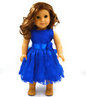 Handmade new blue clothes dress for 18 inch American girl doll party