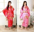 New Japanese Kimono Red and Pink Costume Robes Gown Obi Cosplay Retro Dress