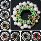 Multicolor large brooch 61mm rhinestone white round shell bow pins jewelry B1222