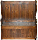 Solid Pine Monks Bench, 4ft Lacquered High Backed Lifting Lid Storage Seat - Pew
