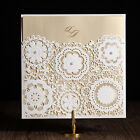 White Laser Cut Wedding Invitation Cards Free Personlized With Pearls, Envelopes