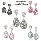 Elegant Crystal Teardrop Wedding Bridal Chandelier Cocktail Earrings Plated