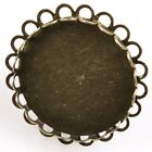 Antiqued Bronze Tone Round / Oval Blank Base Frame Charms Metal Jewelry Rings