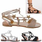 LADIES WOMENS FLAT TIE UP METALLIC GLADIATOR STRAPPY SUMMER SANDALS SHOES SIZE