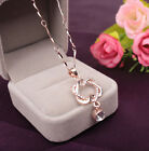 Heart Chain Necklace Jewelry Pendant Women HOT Double Gold /Silver Plated