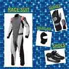Grey and White Go Kart Suit (includes Suit, Gloves, Balaclava & Shoes) free bag