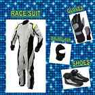 White Go Karting suit (includes Suit, Gloves, Balaclava & Shoes) free bag
