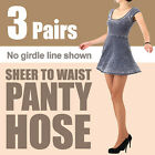 -3 pairs- (Free shipping) Sheer to waist pantyhose / no girdle line shown