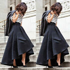 Women Stretch High Waist Flared Pleated Asymmetric Skirt Maxi Long Dress Toy