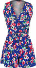 Womens Floral Print Crepe Sleeveless Wrap Over Shorts Ladies Jumpsuit Playsuit