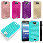 For Kyocera Hydro Wave C6740 Air C6745 Luxury HYBRID Bling Case Phone Cover +Pen