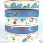 Rocket, alien & sea life grosgrain ribbons 15mm wide per metre for craft