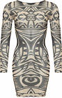 Womens Aztec Mesh Bodycon Dress Ladies Round Neck Print Mini Short Long Sleeve