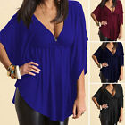 Summer Womens Batwing Sleeve Loose T-Shirt Ladies Casual Blouse Deep  V Neck Top