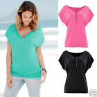 Fashion Women Zipper V Neck Loose Tops Short Sleeve T-shirt Ladies Casual Blouse