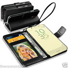 GENUINE REAL LEATHER WALLET CASE  FOR SONY XPERIA E5 + SCREEN PROTECTOR