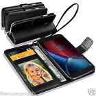 GENUINE REAL LEATHER WALLET CASE  FOR MOTOROLA MOTO G4 + SCREEN PROTECTOR