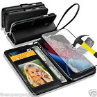 GENUINE REAL LEATHER WALLET CASE  FOR MOTOROLA MOTO G4 PLUS + TEMPERED GLASS