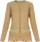 New Womens Suedette Cut Out Tassle Long Sleeve Open Jacket Ladies Cardigan