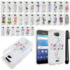 For Kyocera Hydro Wave C6740 Air C6745 Crystal Bling HYBRID Case Cover + Pen