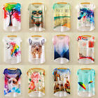 New Women Summer Short Sleeve Printed Casual  T Shirt Tops Tee Blouse Clothes