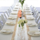 1/10pcs Lace Rose Pattern Burlap Hessian Table Runner Wedding Tea Party Decor