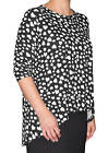 Kosher Casual Women's Modest Printed 3/4 Sleeve Tunic Top 'High Low' Cut