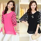 Plus Size Women Half Sleeve Summer Chiffon T-shirt Polka Dots Casual Blouse Tops