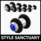 Surgical Steel Flesh Plug Bullet Ear Stretcher Tunnel O-Rings Crystal Expander