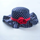 Sun Hat for Baby Toddler Kids Child Cotton Sunhat Rose knot Blue White Polka Dot