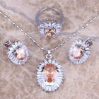 Brown Morganite White Topaz Silver Jewelry Sets Earrings Pendant Ring S0407
