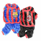 Soccer Puppy Clothes Uniform Blue Red lWinter Warm Pet Dog Overalls XXS XS S M L