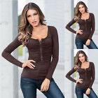 Sexy Women's Ladies Slim Long Sleeve Casual Blouse T-Shirt Tops Fashion Blouse
