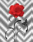 Red Gray Floral Chevron Home Decor Modern Wall Art Matted Picture