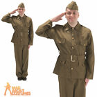 Adult British WW2 Soldier Costume 1940s World War Mens Fancy Dress Outfit New