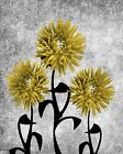 Yellow Gray Modern Floral Bathroom Bedroom Wall Art Matted Picture