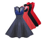 STON Sexy Women V Neck Vintage Cut Out Retro Party Cocktail Swing Skater Dresses