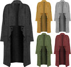 Womens Knitted Waterfall Open Cardigan Top Fleck Ladies Long Sleeve Pocket 8-14