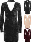 Womens Crushed Velvet Mini Party Dress Ladies Choker V Neck Long Sleeve 8-14
