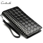 Men Wallet Genuine Leather 100% Handmade Knitting Phone Credit Card Holder Cluth