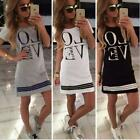 New Women Ladies Round Neck BOHO Love Printed Cotton T-Shirt Casual Dress S-XL