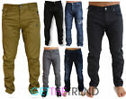 Mens Denim Jeans Crosshatch Regular Slim Fit Skinny Pants Twisted Polycotton Leg