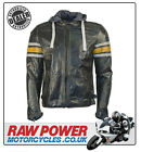 Richa Toulon Leather Motorcycle Motorbike Jacket - Black/Yellow