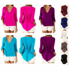 Womens V Neck Casual Long Sleeve Chiffon Tee T Shirt Blouse Loose Tops Plus Size